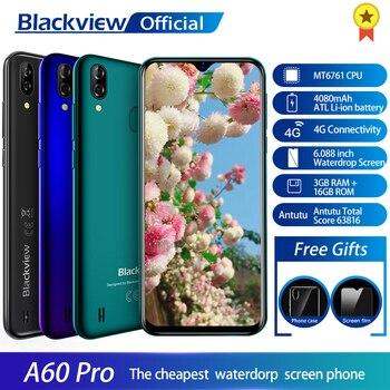 Перейти на Алиэкспресс и купить Сотовый телефон Blackview A60 Pro, MTK6761 четыре ядра, Android 9.0, 4080 мАч, 3 ГБ+16 ГБ экран Waterdrop, сканер лица, мобильный телефон с 4G