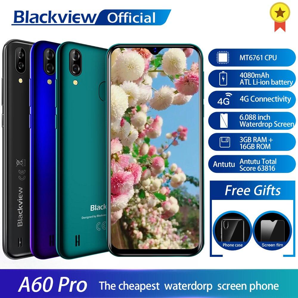 Blackview A60 Pro смартфон MTK6761 четырехъядерный Android 9,0 4080 мАч мобильный телефон 3 ГБ + 16 Гб экран с каплями воды лицо ID 4G мобильный телефон