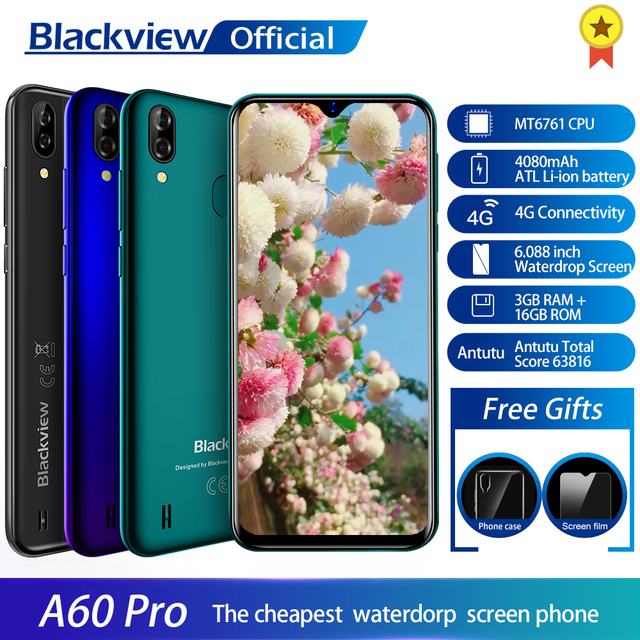 Blackview A60 Pro смартфон MTK6761 Quad Core Android 9,0 4080 мАч мобильный телефон 3 ГБ + 16 Гб Waterdrop экране Face ID 4G мобильный телефон