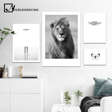 Buy NICOLESHENTING Animal Lion Black White Canvas Po online