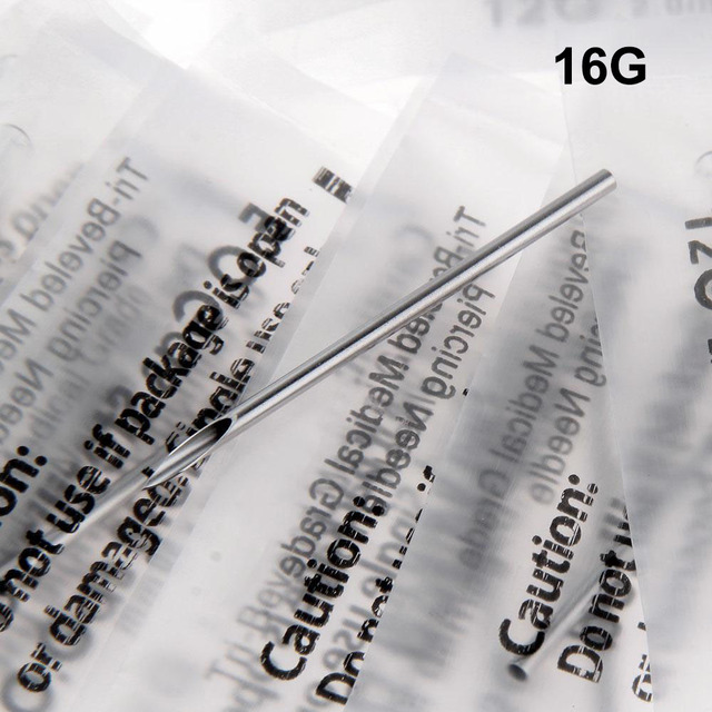 100PC 16G Disposable Tattoo Sterile Body Piercing Needles 16G With Box For Ear Nose Navel Nipple Free Shipping BN-16G