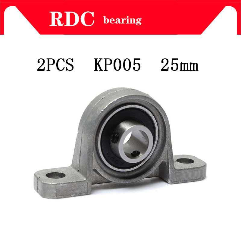 Free Shipping 2PCS KP005 Pillow Block Bearing 25mm High quality Bore Diameter Self Align Mounted Zinc Alloy machine Accessories free shipping wholesales 25 mm caliber zinc alloy mounted bearings kp005 pillow block bearing housing