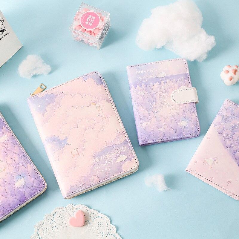 2019 New cute zipper leather school student cartoon diary notebooks kawaii girls agenda planner organizer stationery gift