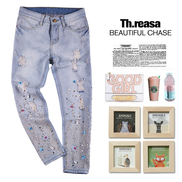 New fashion stylish high quality 100% cotton denim pants colorful rhinestone hole Embroidered Flares bleached loose jeans