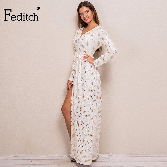 Fditch 2017 Gedruckt Kleider Feder Muster Mode Kleid Frauen Gold ...