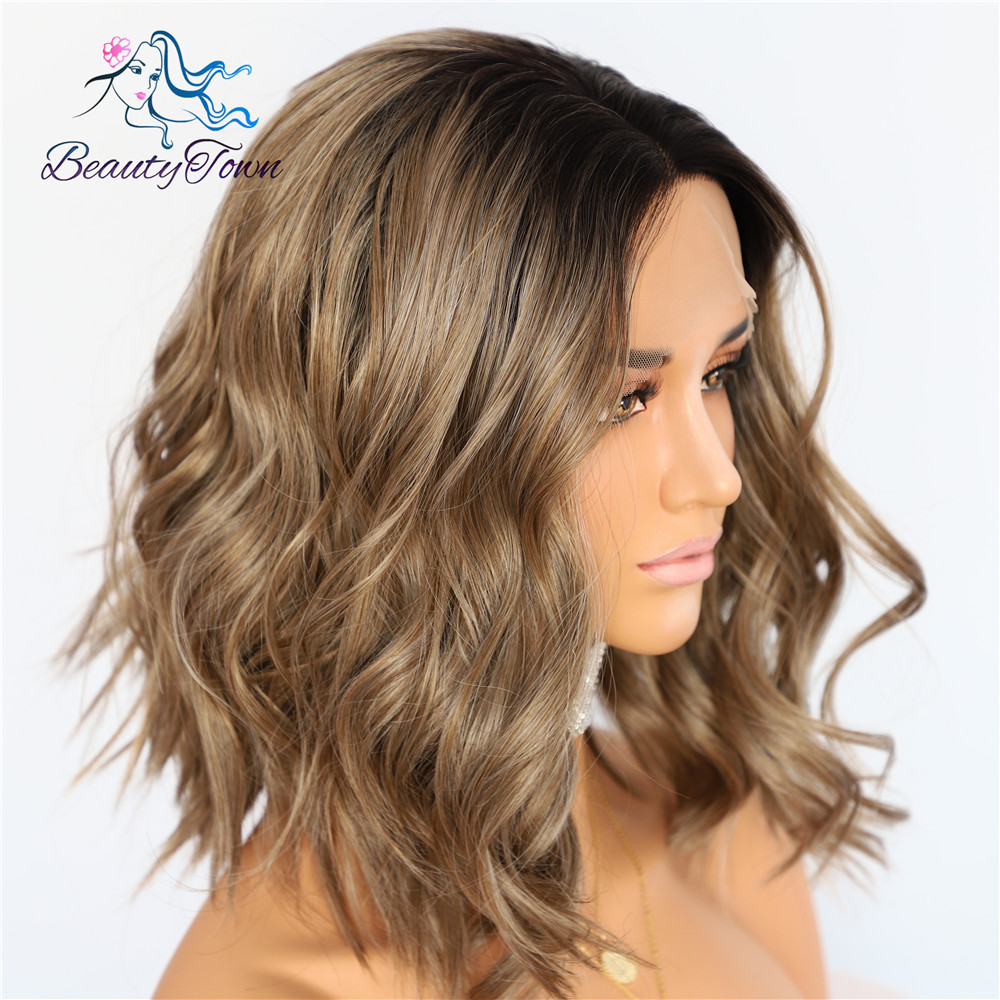 BeautyTown Black Ombre Brown Short Heat Resistant Hair Cosplay Blogger Daily Makeup Synthetic Lace Front Wedding Party Wigs-in Synthetic None-Lace  Wigs from Hair Extensions & Wigs    3