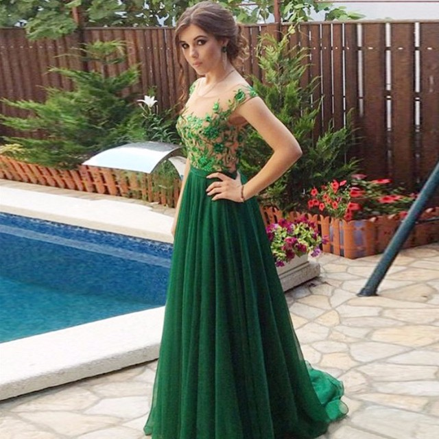 Emerald Green Evening Dresses Long Lace Applique Chiffon Cap Sleeve ...