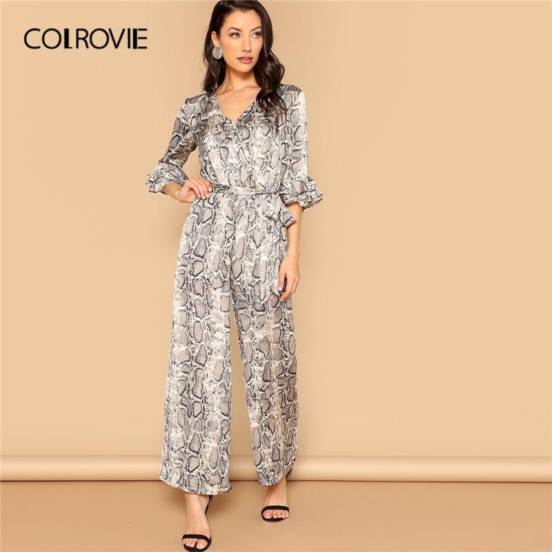 COLROVIE V Neck Waist Belted Snake Skin Print Skinny Casual   Jumpsuit   Women 2019 Spring Flounce Sleeve Wide Leg Elegant   Jumpsuits