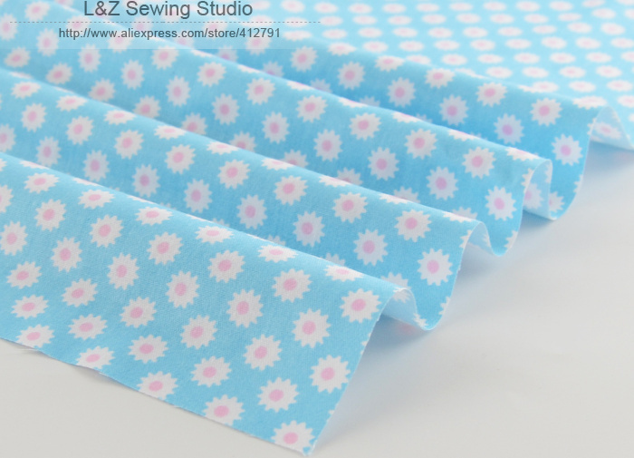 Brilliant Little Flowers Printed 1 meter 100% Cotton Blue Fabric by Meter 160cmx100cm for Clothing Bedding Tilda Cloth quilting