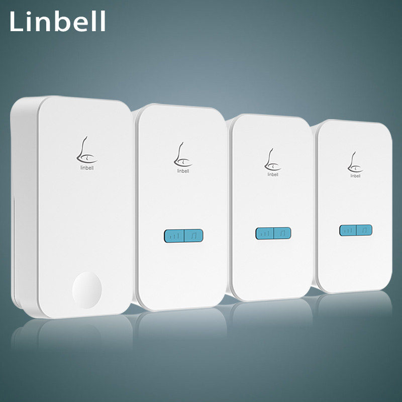 Linbell G4 self-powered wireless doorbell kit 1 transmitter 3 receivers long range waterproof smart door bell 300m EU/US/UK plug cacazi ac 110 220v wireless doorbell 1 transmitter 6 receivers eu us uk plug 300m remote door bell 3 volume 38 rings door chime