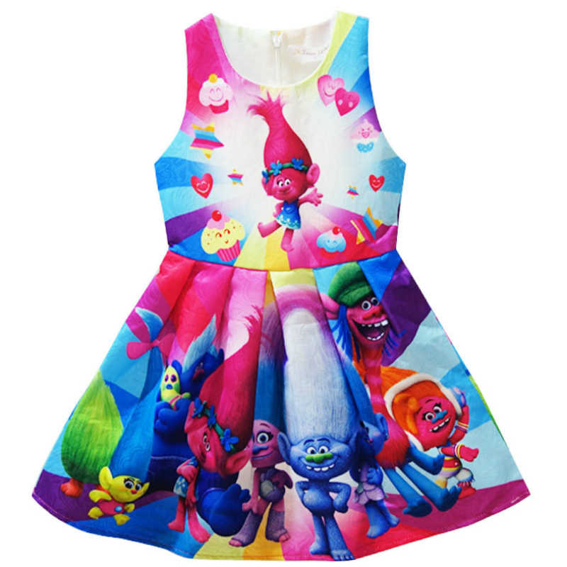 Trolls Cartoon Clothes Kids Dresses Summer Sleeveless Dress for Girls Wedding Evening Party Trolls Costumes Children Clothing