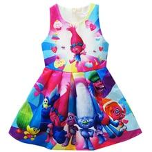 Trolls Cartoon Clothes Kids Dresses Summer Sleeveless