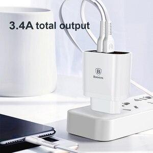 Image 2 - Baseus светодиодный цифровой 3 порта USB зарядное устройство ЕС вилка Мобильный телефон Быстрая зарядка настенное зарядное устройство 3.4A макс для iPhone X 8 7 Samsung S9 S8