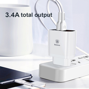 Image 2 - Baseus LED Digital 3 Ports USB Charger EU Plug Mobile Phone Fast Charging Wall Charger 3.4A Max for iPhone X 8 7 Samsung S9 S8