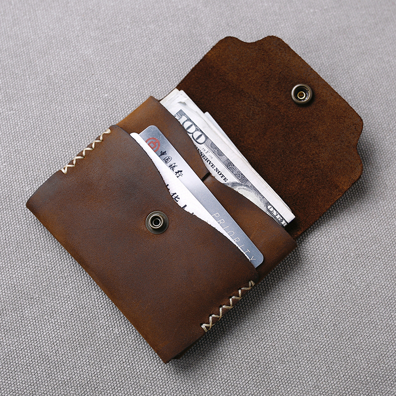 Gathersun New Small Wallet Leather For Men Handmade Crazy Horse Leather Minimalist Card Holder Wallet Personalized Gifts