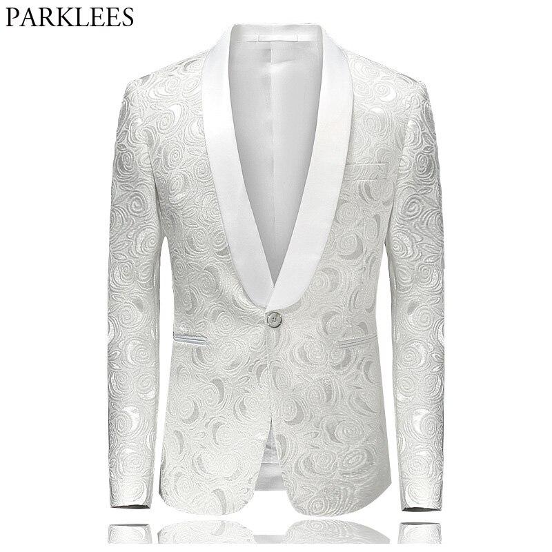 Chaqueta de traje Floral Rosa Hipster de los hombres 2018 nueva marca ajustada de un solo botonadura un botón chaqueta de esmoquin trajes de escenario 4XL