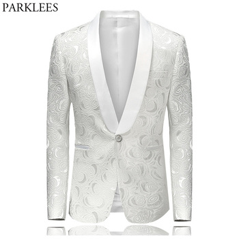 Men's Hipster Rose Floral Suit Jacket 2018 Brand New Slim Fit Single Breasted One Button Tuxedo Blazer Jacket Stage Costumes 4XL Men Blazers