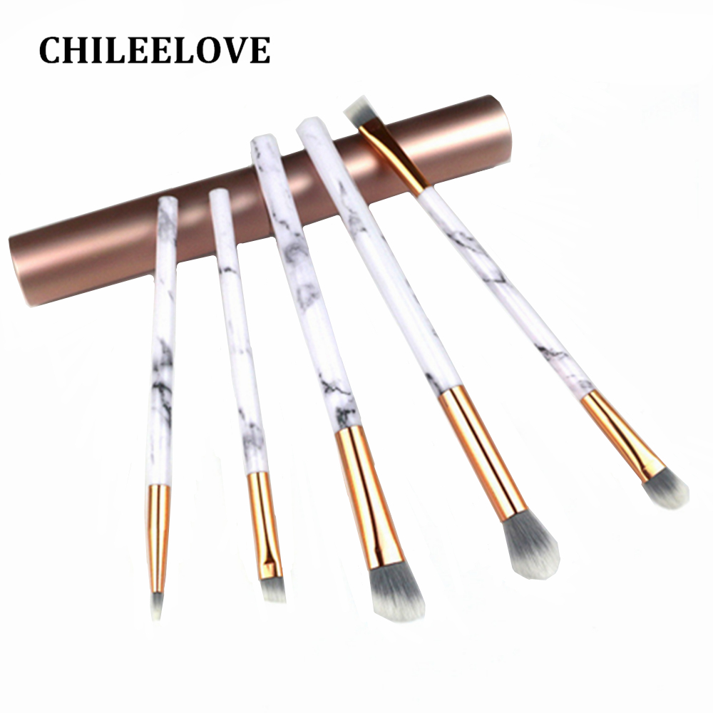 CHILEELOVE 5 Pcs Mini Marble Stripe Base Eye Makeup Brushes Kit with Barrel Box For Eye Shadow Eyebrow