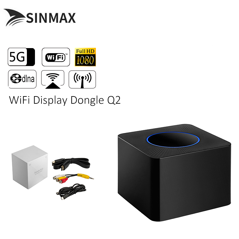 Q2 1080P TV Stick 2.4G & 5G sans fil Wifi affichage HDMI Dongle récepteur pour iOS Android Support DLNA AirPlay Miracast