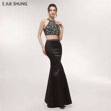7b07f7c78f E JUE SHUNG color negro cristales dos piezas vestidos de baile largo 2018  elegante sirena vestidos de fiesta galajurken imagen R..