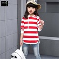 Girls T-shirt 5-15Years Baby Girl Wear Autumn Kids Tops Girls Costume Baby Striped Black Red T Shirts Long Sleeve Children Tees