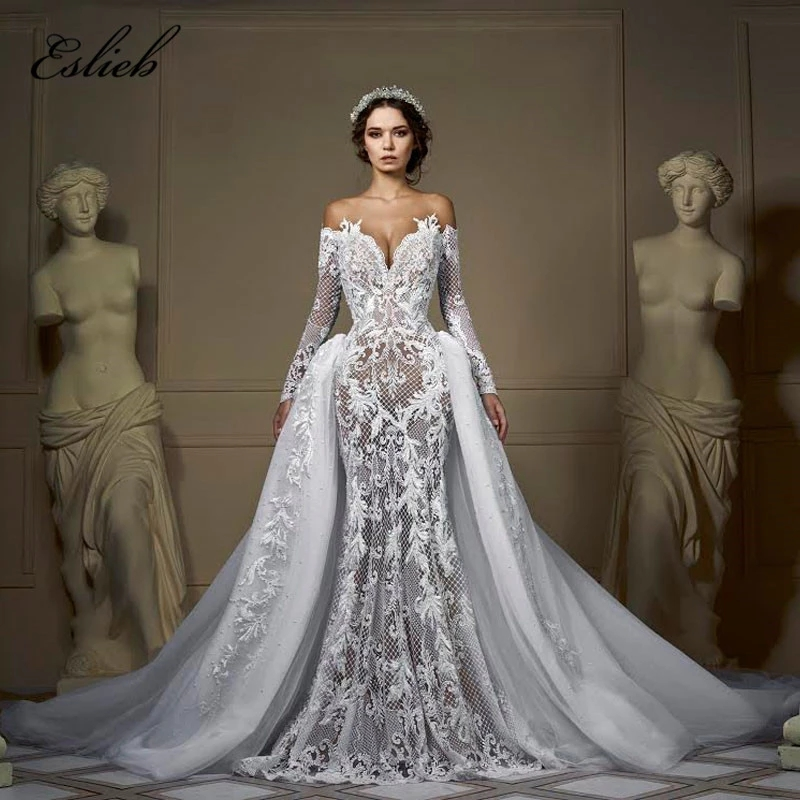 Wedding Dresses With Detachable Tail: 2019 Off Shoulder Long Sleeves Wedding Dress Mermaid