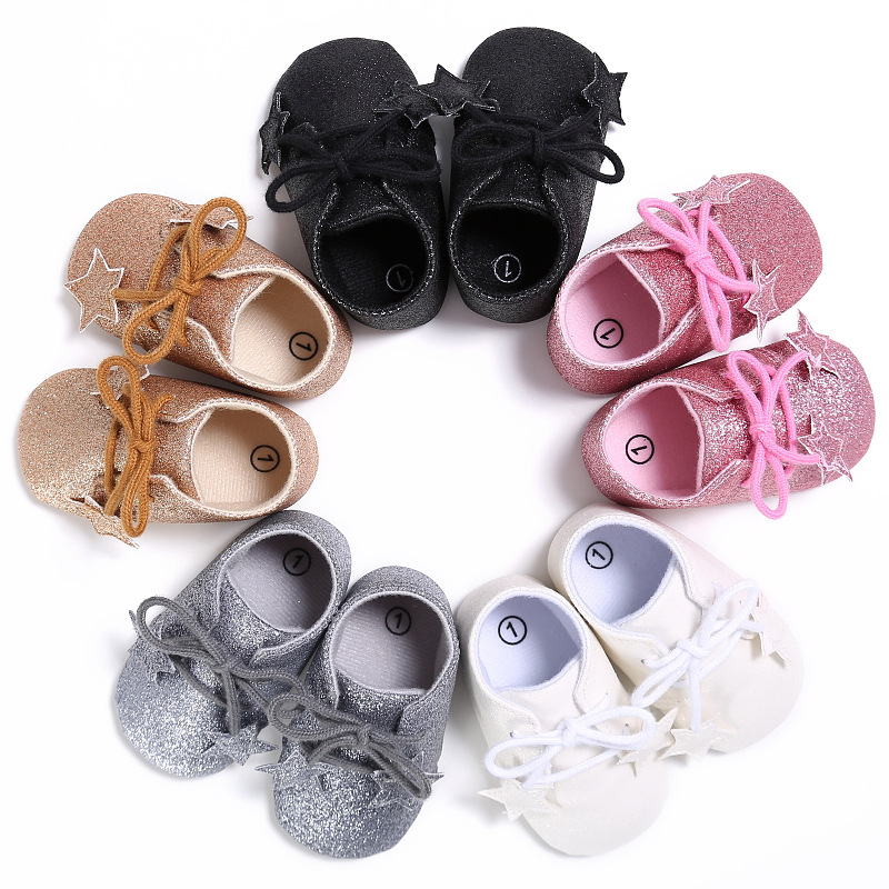 Princess bling sequin star baby girls moccasins first walkers infant newborn summer shoes