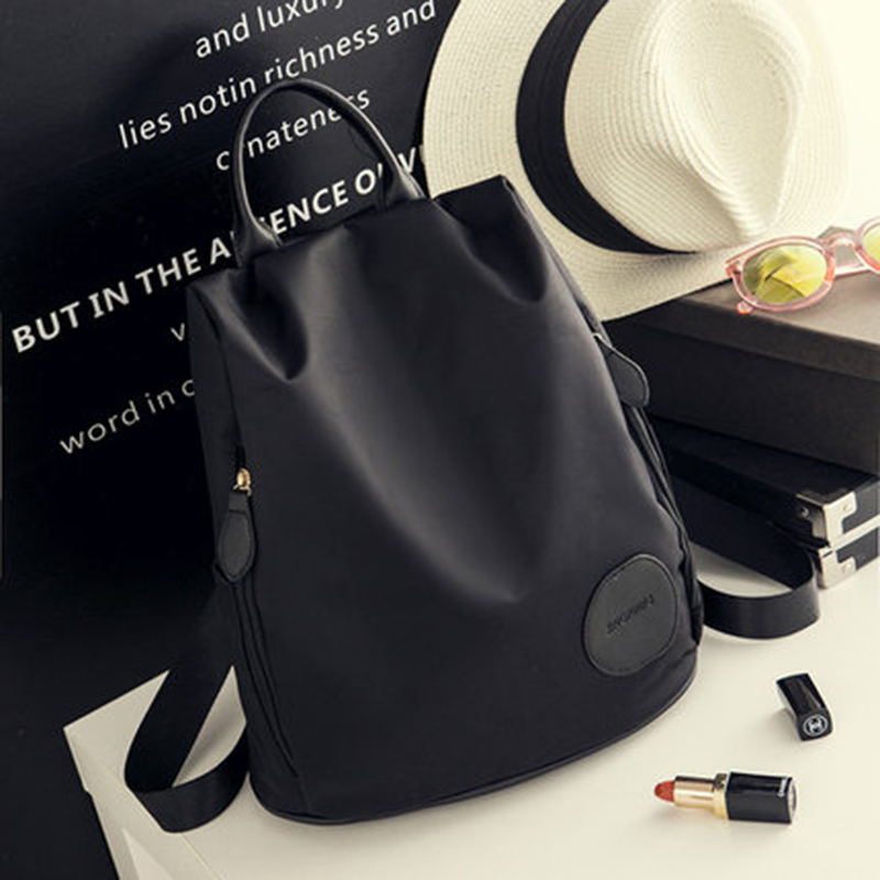 1903b5c786f4c Women street fashion bags ladies leisure Casual Waterproof backpack Teenage  girls nylon Oxford cloth bag Black