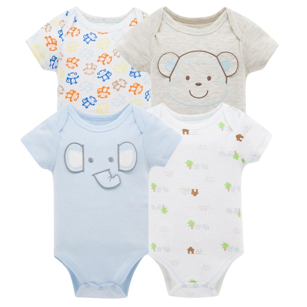 Kavkas/одежда для сна для маленьких мальчиков, комплект из 4 шт./компл., одежда с короткими рукавами для новорожденных, пижамы для мальчиков, Infantile, одежда для сна для маленьких мальчиков - Цвет: HY20782079
