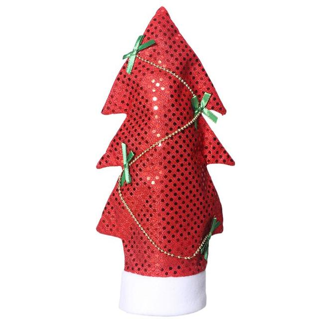christams decoration sequins christmas tree shape wine bottle cover bags cap candy gift wrap home party - How To Make A Wine Bottle Christmas Tree