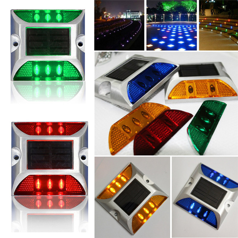 6 LED Solar Road Stud Light Aluminum Waterproof Lamp 5 color Warning Light Outdoor Decking Lamp For Pathway Driveway Garden 6 pcs solar led pathway driveway light dock path step road safety marker white blue red light