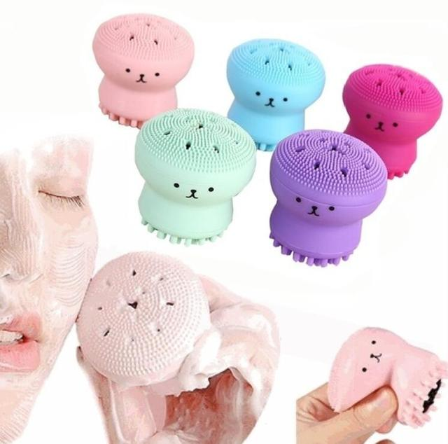 Jellyfish Face Wash Brush Exfoliating Face Cleaner Brush Massage Soft Silicone Facial Brush Scrubber Deep Pore Cleaning Brush