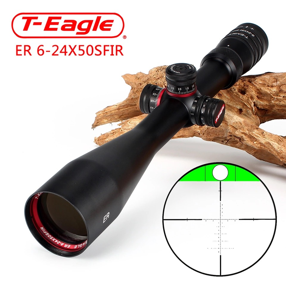 T Eagle ER 6 24X50 SFIR Hunting Riflescope Side Parallax Glass Etched Reticle Turrets Lock Reset