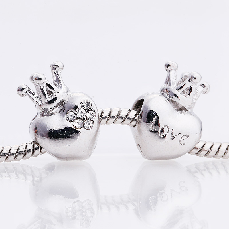 Kupla Vintage Silver Metal Beads fit Pandora Charms Fashion Crown Love Heart Beads for Jewelry Making Retro DIY Beads Bracelets