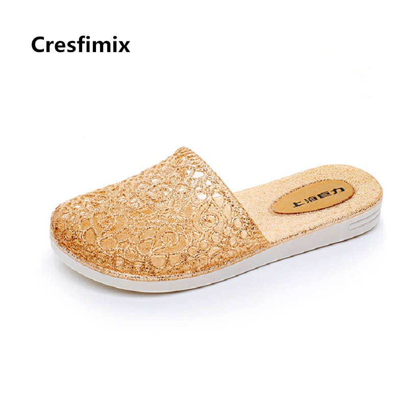Cresfimix women fashion comfortable home spring & summer golden slippers lady casual street slides female leisure slippers c2718 cresfimix women fashion high quality comfortable slippers lady casual pink beach slip on slippers female leisure soft slippers