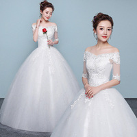 Puffy Vintage Half Sleeve Lace Wedding Dress Vestido de Noiva Manga Longa Bridal Dresses 2019 Beads Ball Gown Wedding Gowns