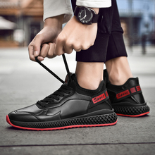SUROM Leather Sneakers Men Breathable Lace Up Black Flats Fashion Mens Shoes Casual Comfortable Walking Male High Top