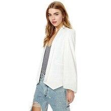 2017 Hot models Women Fashion White Black Lapel Split Pockets Long Sleeve Casual Blazer Cape Work Suit Workwear Women's Blazer