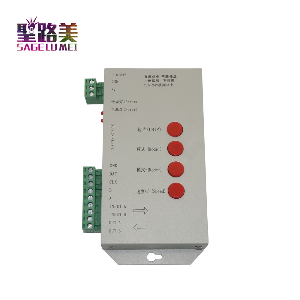 T1000S 2048 Pixels DMX 512 Controller SD Card WS2801 WS2811 WS2812B LPD6803 LED Strip DC5V 24V T-1000S RGB full color Controller