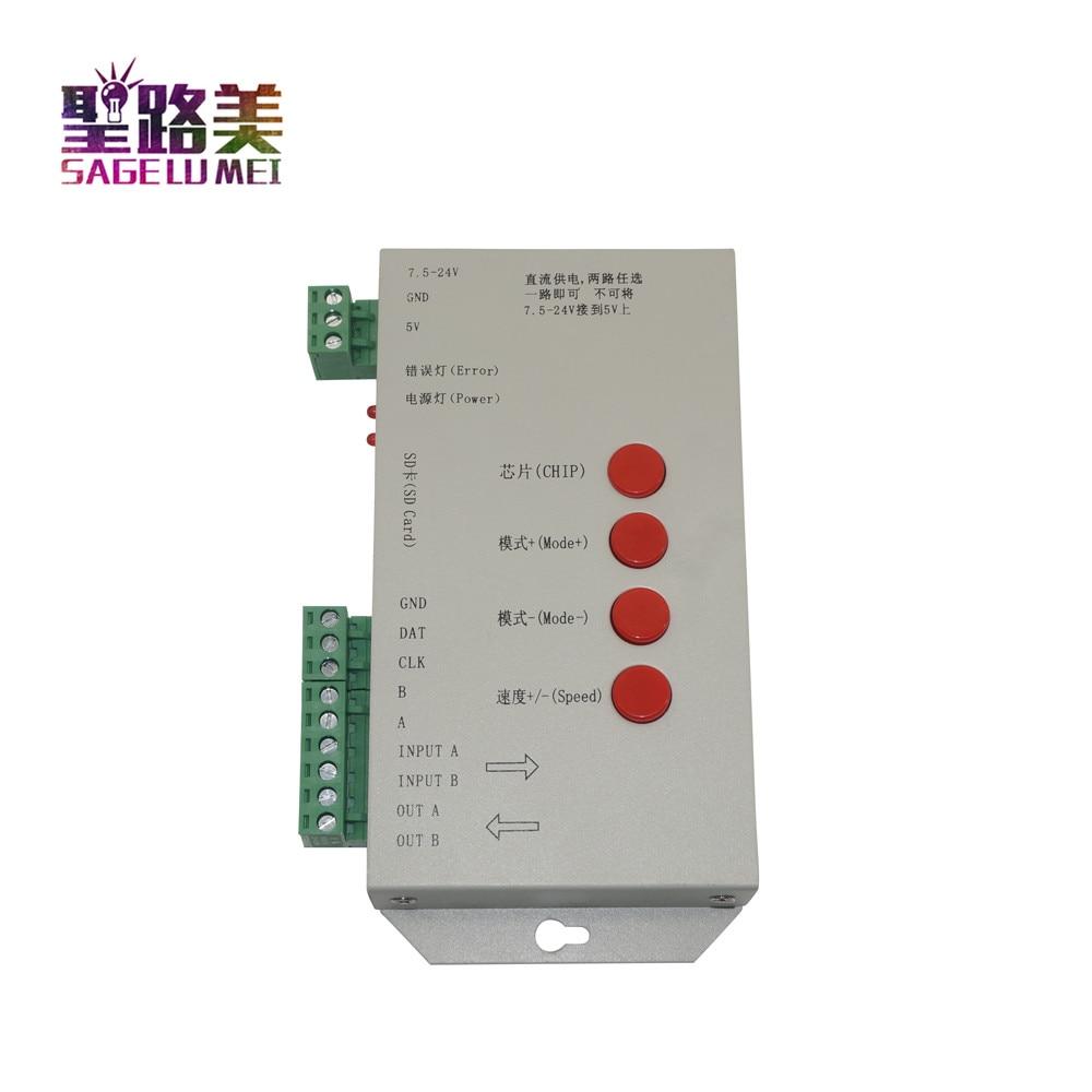 T1000S 2048 Pixels DMX 512 Contrôleur Carte SD WS2801 WS2811 WS2812B LPD6803 LED Bande DC5V 24V T-1000S RVB polychrome Contrôleur