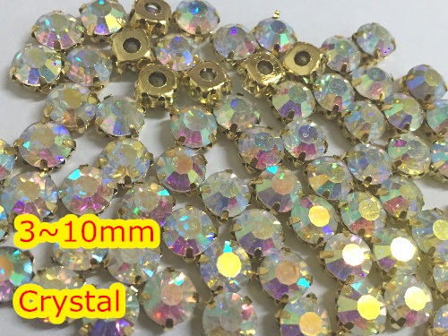 Stones Crystal Gold-Base 10mm 8mm 7mm AB 6mm with Claw 3mm 5mm Sew-On 4mm