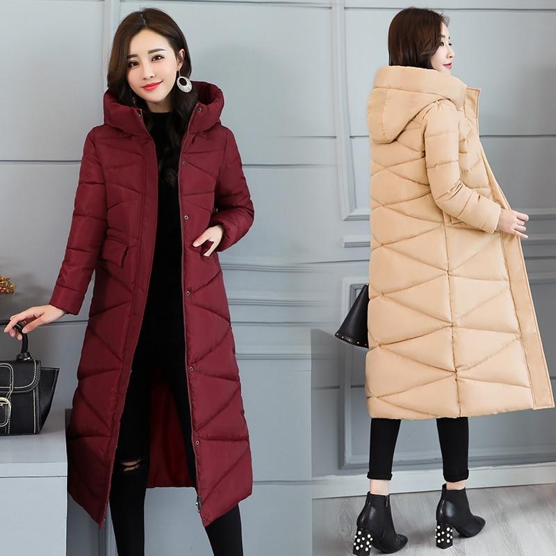 Корейские пальто женская зимняя верхняя одежда 2020 длинная теплая толстая пуховая парка Модная тонкая куртка женская зимняя куртка сплошная с капюшоном|Парки|   | АлиЭкспресс