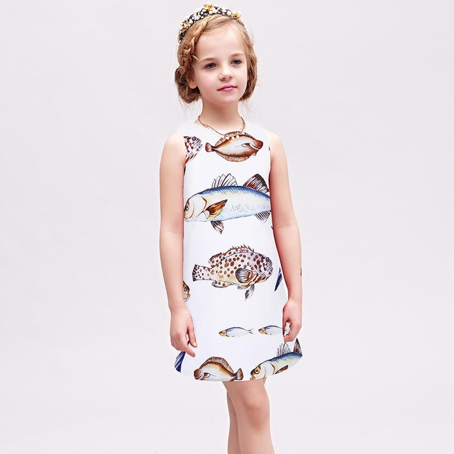 W.L.MONSOON Princess Dress 2017 Brand Summer Girls Party Dress Children Fish Printed Dresses Kids Clothes Vestido Princesa 3-12Y