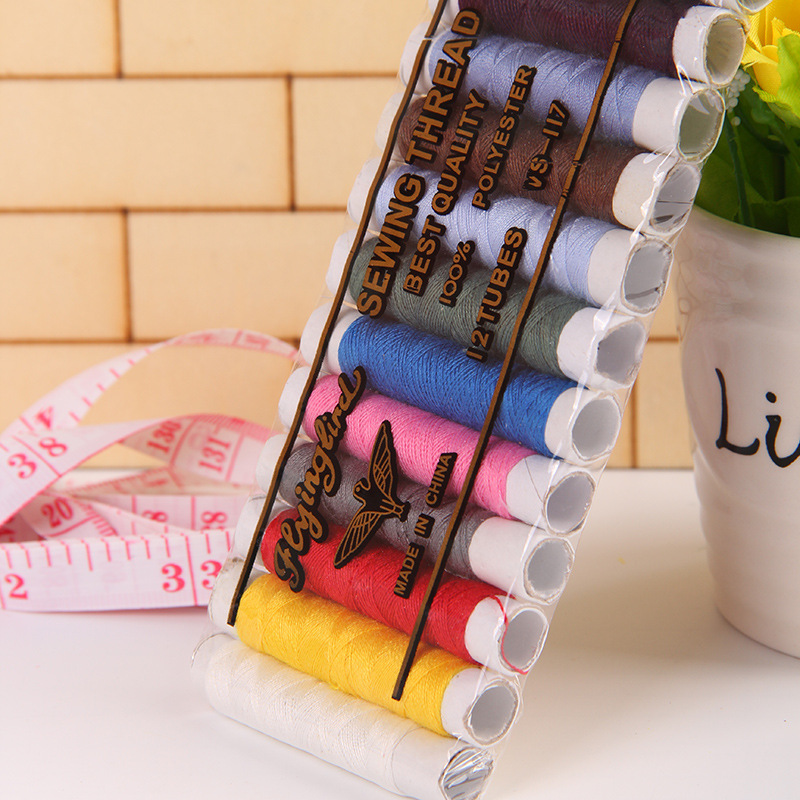 12pcs/set 402 Polyester Sewing Thread For Home Diy Sewing