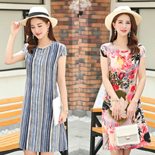 b new summer women cotton silk dress women plant flower embroidered cotton dress woman casual loose dress plus size S-6XL