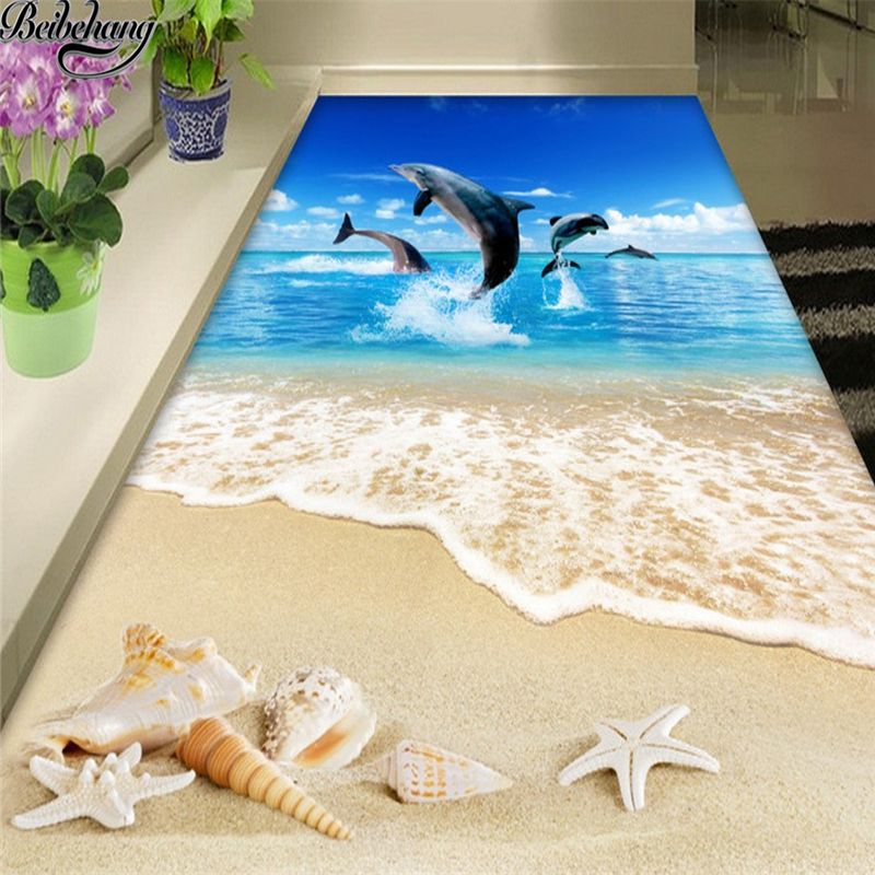 beibehang Custom Floor Paintings 3D Surf Beach Shells Starfish Living Room Bathroom Floor Decorations Drawings 3d Flooring mural