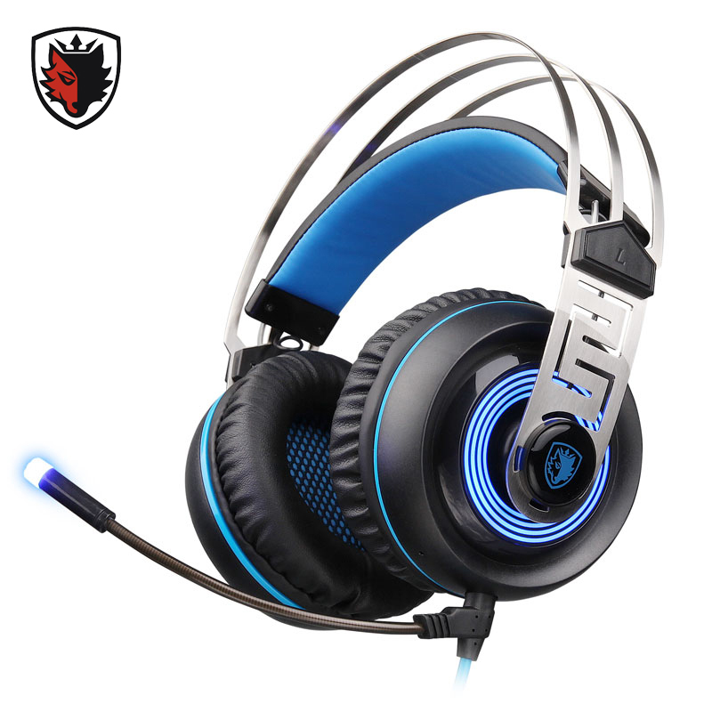 ФОТО Sades Vibration Gaming Headphones USB Wired Over-Ear Gamer Headsets with LED Light Microphone for Computer PC Gamer Video Game