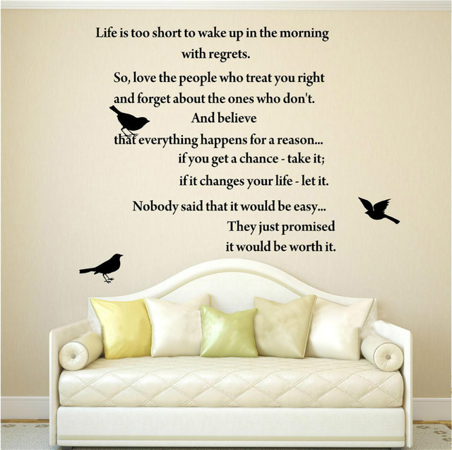 LIFE IS TOO SHORT Inspirational Poems WALL ART QUOTE DECAL VINYL LETTERING  WORDS LETTERING HOME FREE
