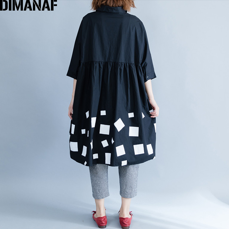 DIMANAF Women Blouse Shirts Long Sleeve Cotton Top Autumn Femme Lady Large Loose Clothing Print Spliced Pleated Plus Size Black 4