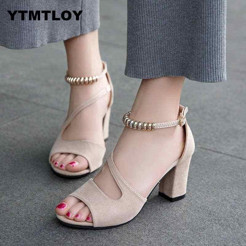 プラスサイズ 34-42 夏の女性のサンダルオープントゥの女性の Sandles 太いヒール靴パンプス韓国スタイルの剣闘士高のぞき見 Zapatos